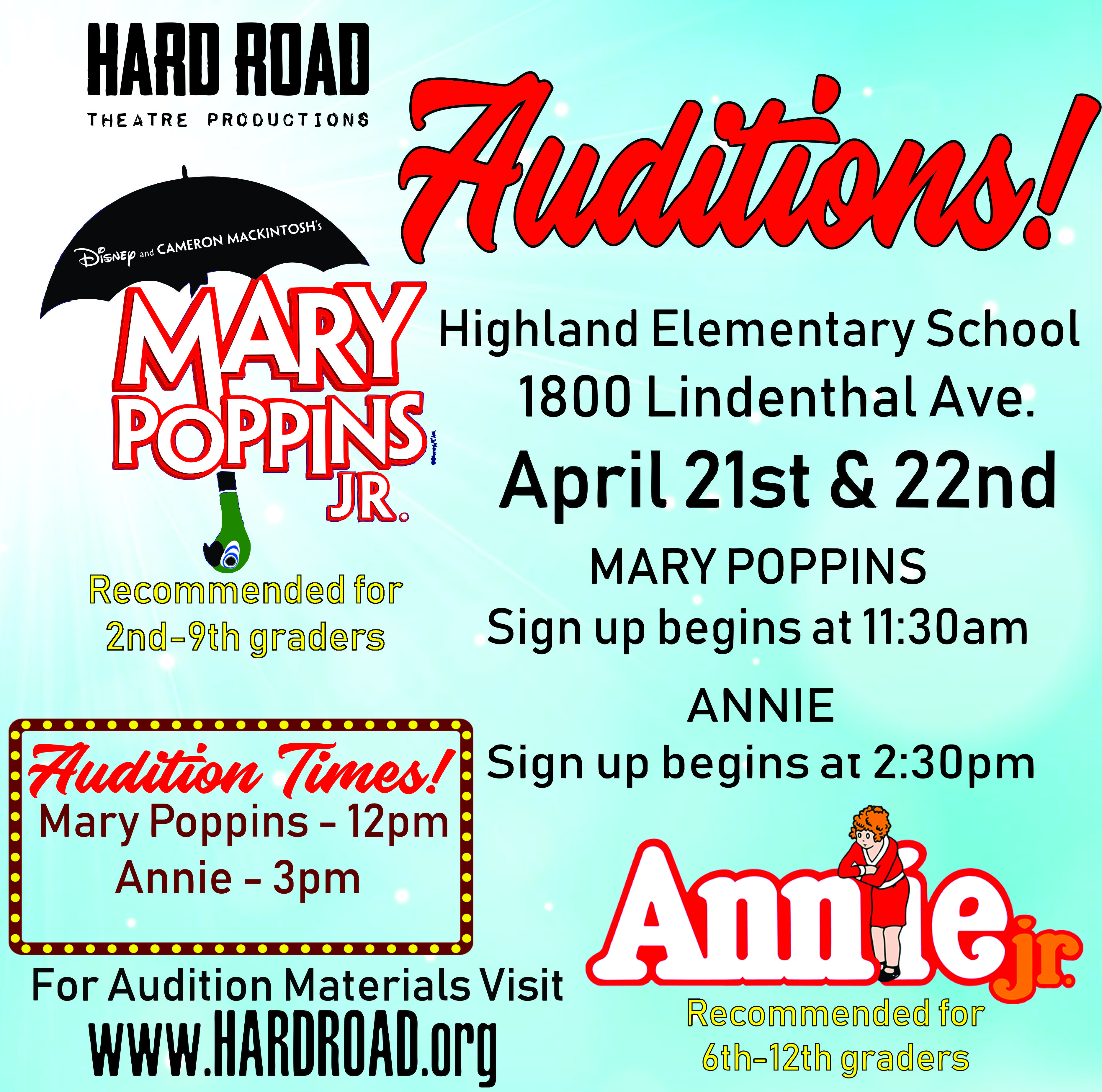 Mary Poppins Jr  Auditions | Hard Road Theatre